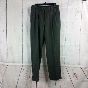 Stafford Men's Brown/Green Dress Pants 32x32 Pleat